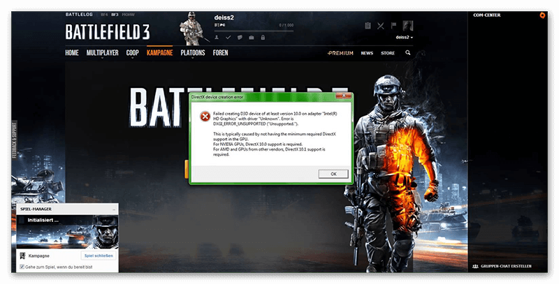directx device creation error на примере игры Battlefield 3
