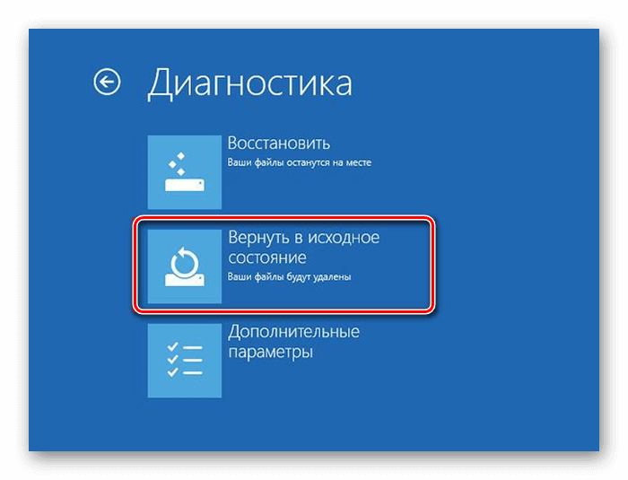 Восстановление в исходное состояние windows 8
